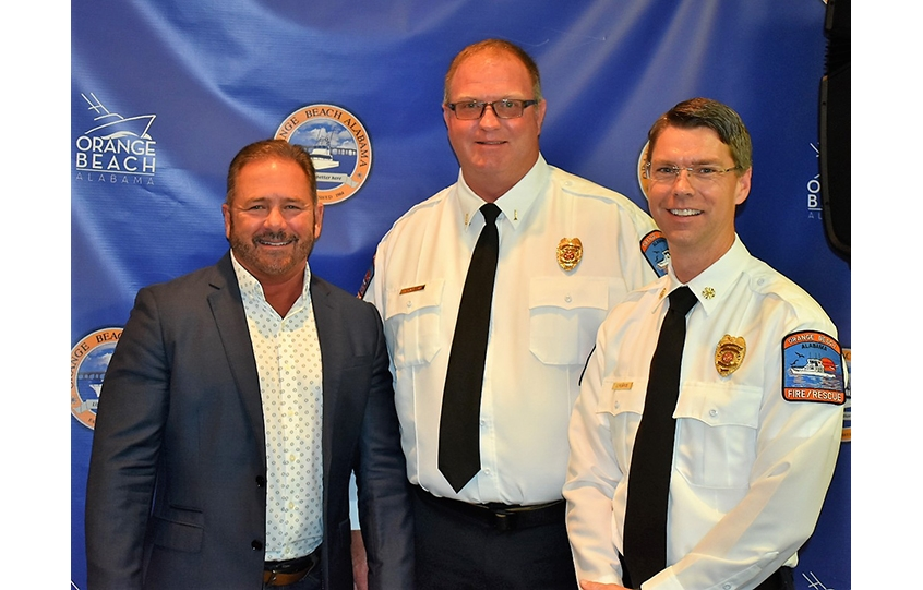 Bruce Nelson promotion to Orange Beach Fire Battalion Chief with Mayor Kennon and Chief Pearce