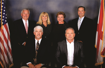 Orange Beach City Council, back row, left to right, Jerry Johnson, Joni Blalock-Costo, Chairman Pro-tem Annette Mitchell, Jeff Boyd and front row, left to right, Jeff Silvers, Mayor Tony Kennon