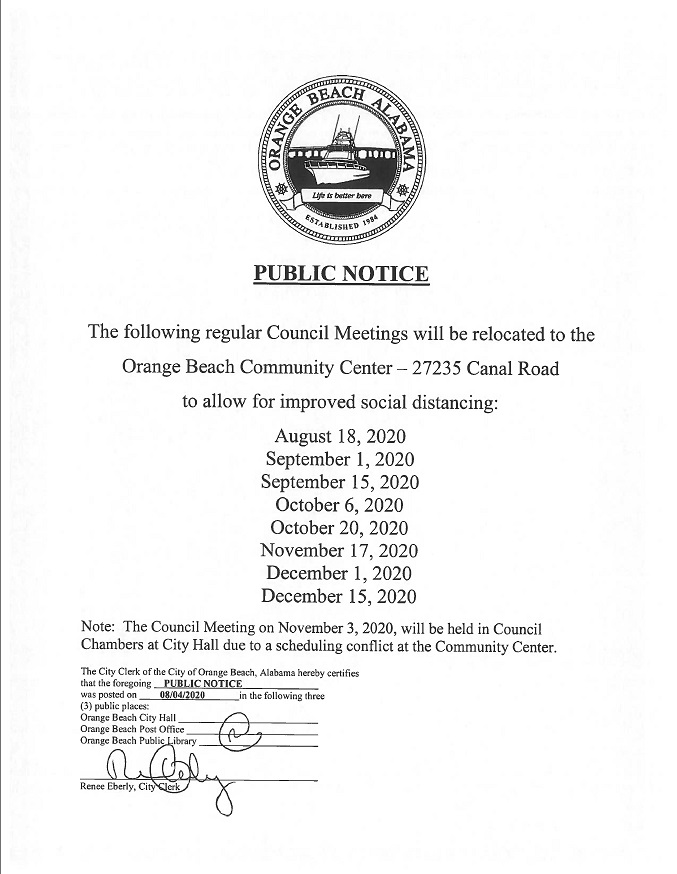2020.08.04 Public Notice - Relocation of Council Meetings