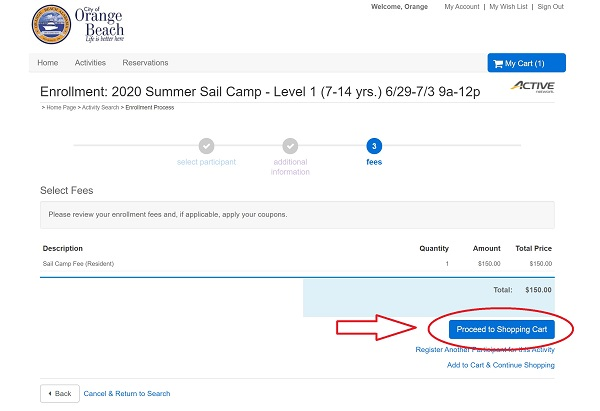 Sail Camp registration screenshot from ActiveNet portal