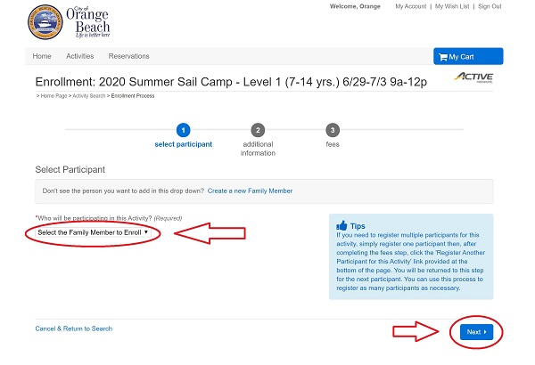 Sail Camp registration screenshot from ActiveNet registration portal