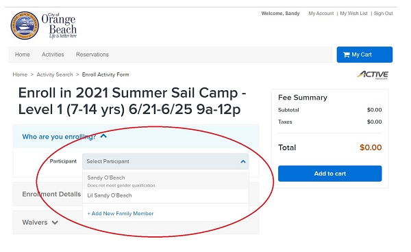 ActiveNet enrollment page for Sail Camp