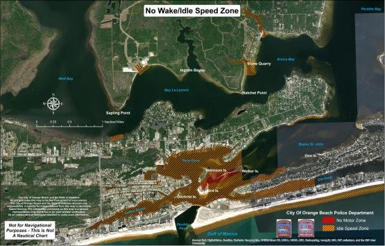 Map showing the no wake, idle-speed zones in Orange Beach waterways