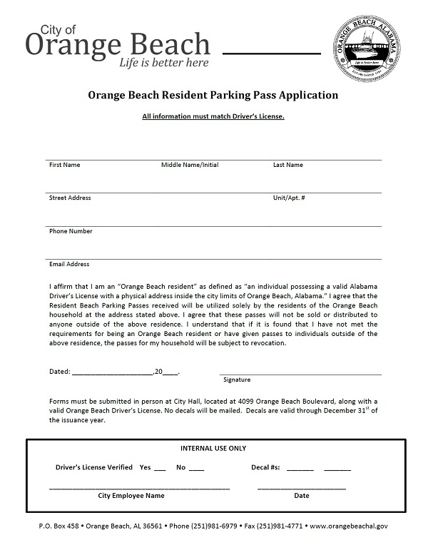 Orange Beach Parking Pass Application, updated May 5, 2021