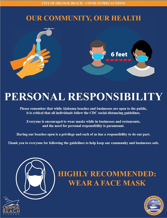 City of Orange Beach Personal Responsibility flier concerning Covid-19