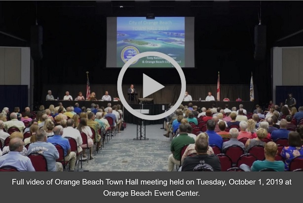 Screenshot of video for the Orange Beach Town Hall meeting held on Oct. 1, 2019
