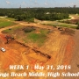 Week 1 aerial photo of Orange Beach school construction site, May 31, 2018