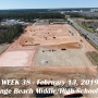 Week 38 aerial photo of Orange Beach school construction site, February 13, 2019.