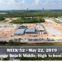 Week 52 aerial photo of Orange Beach school construction site on Canal Road, May 22, 2019