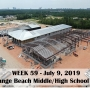 Week 59 aerial photo of Orange Beach school construction site on Canal Road, July 9, 2019