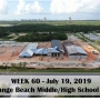 Week 60 aerial photo of Orange Beach school construction site on Canal Road, July 19, 2019