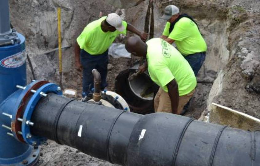 Orange Beach Sewer Department crews work on the State Highway 161 Sewer Project