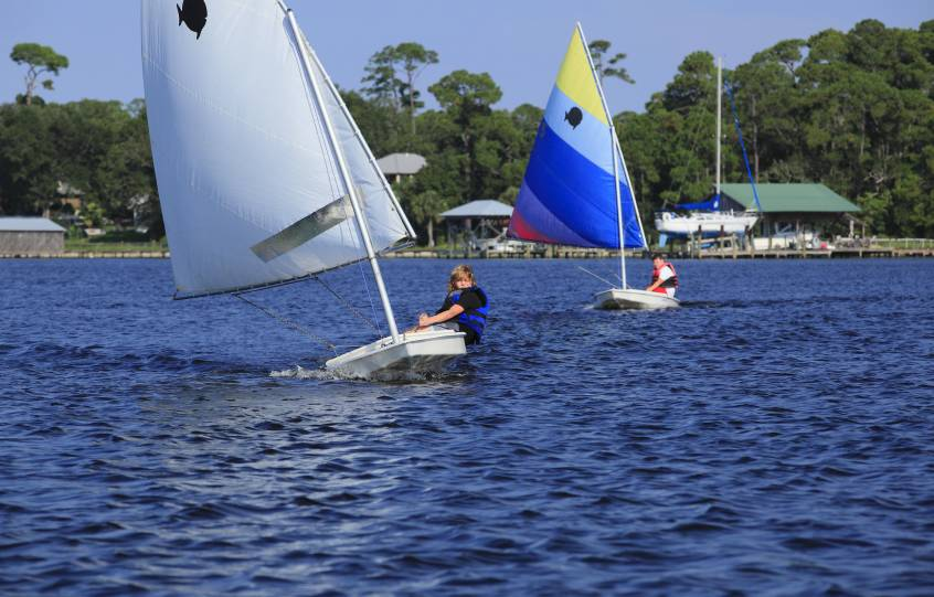 Sunfish Sailboat Race part of City of Orange Beach Wind & Water Learning Center sail camp