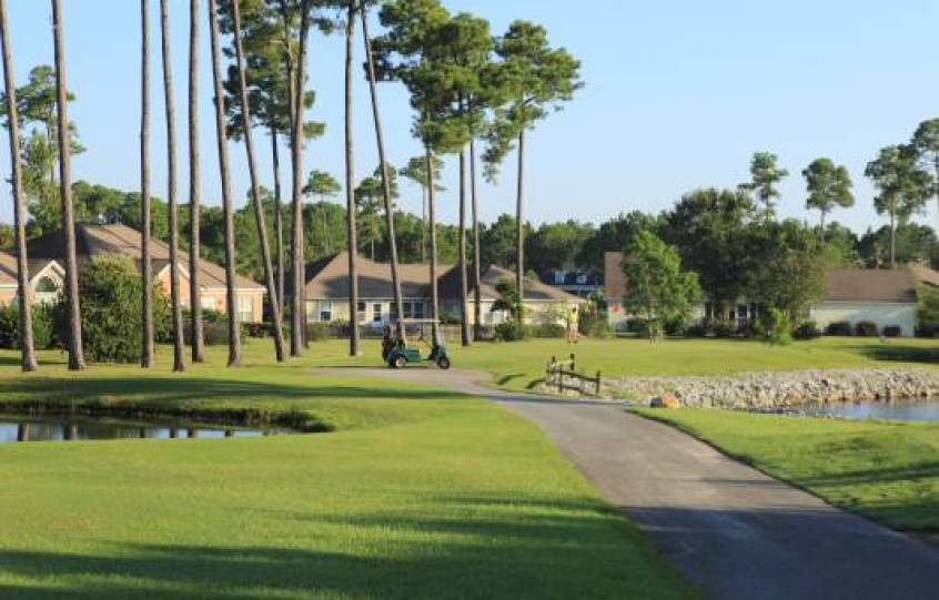 Golf cart path winds through Orange Beach Golf Center with towering pine trees making it a picturesque area