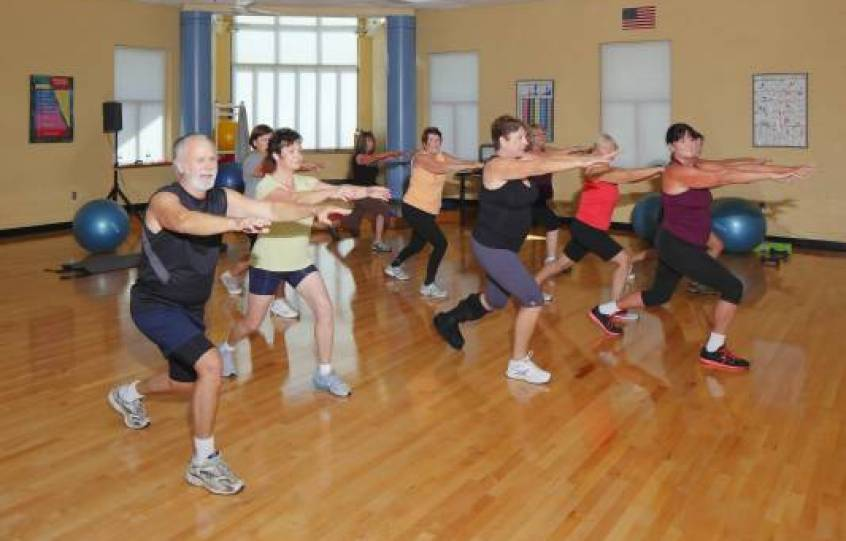 Photo of a group fitness class at the Orange Beach Recreation Center