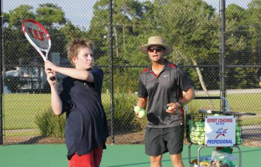 USPTA-certified Elite 1 Pro Rhett Russell teaches at Orange Beach Tennis Courts