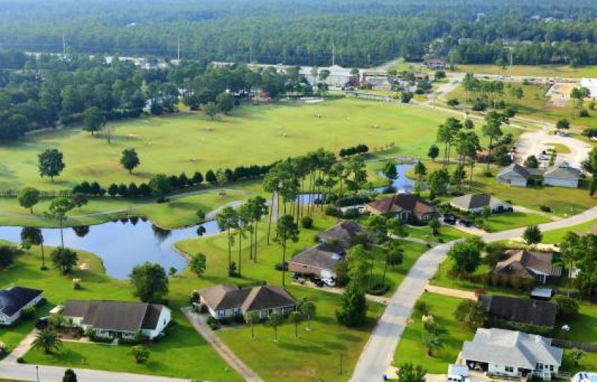 Orange Beach Golf Center aerial with driving range and a few holes in the 9-hole, Par 3 executive course