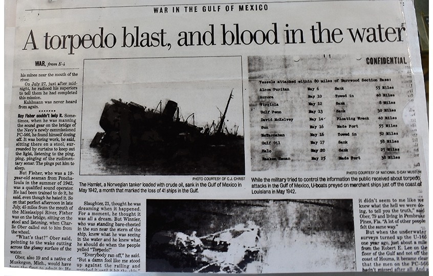 A Norwegian ship sinks in the Gulf of Mexico in 1942 in The Times Picayune.