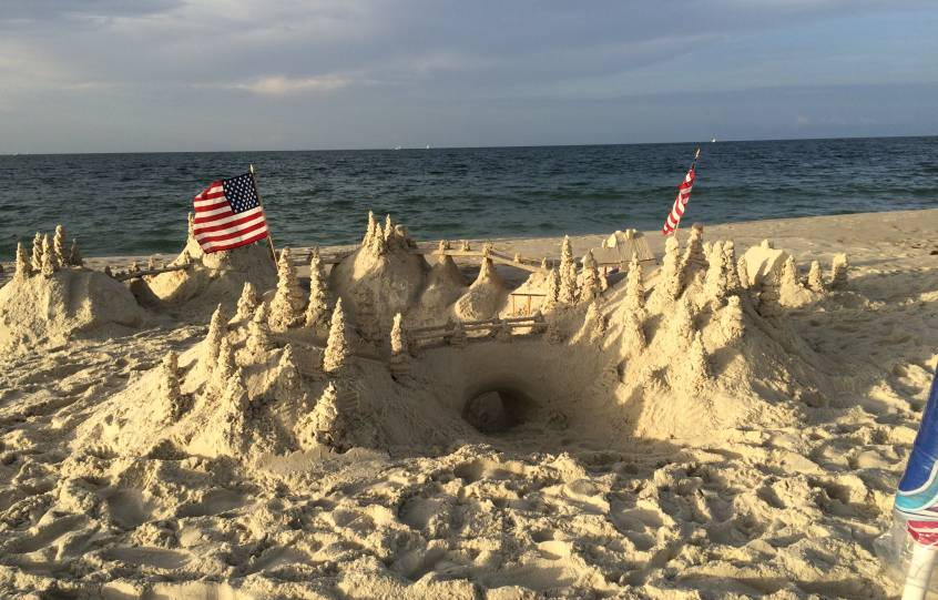 A large sandcastle at the beach in Orange Beach