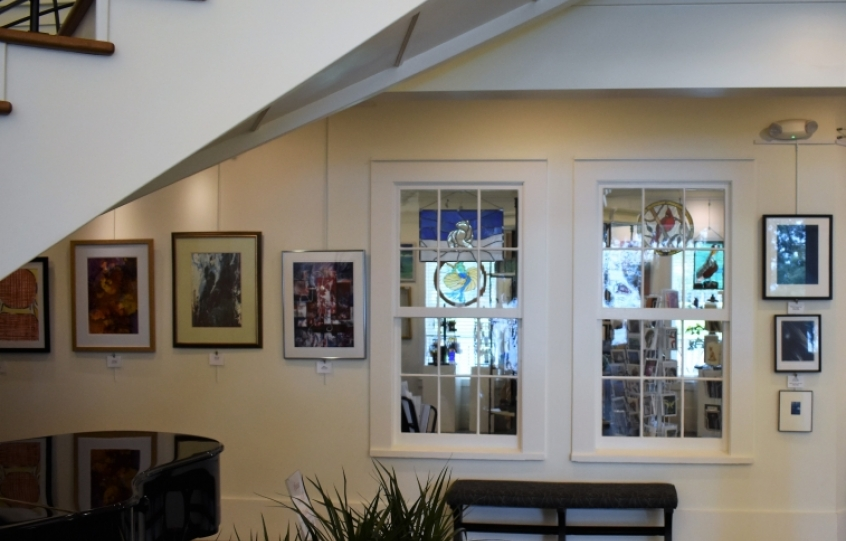 New Coastal Arts Center with old hotel windows at gift shop