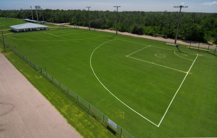 City of Orange Beach Sportsplex aerial showing 2 T-ball fields and soccer fields in the background