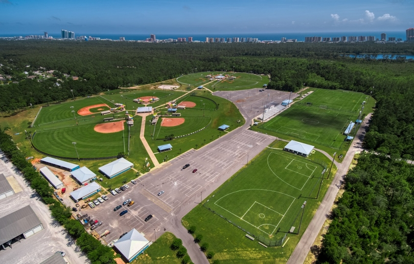 City of Orange Beach Sportsplex aerial showing 9 baseball/softball fields, 2 soccer fields and 2 T-ball fields