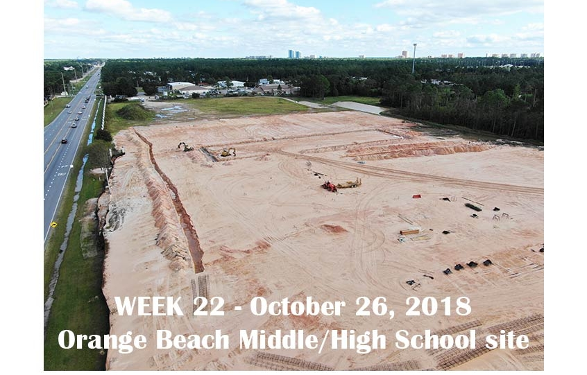 Week 22 aerial photo of Orange Beach school construction site, October 26, 2018
