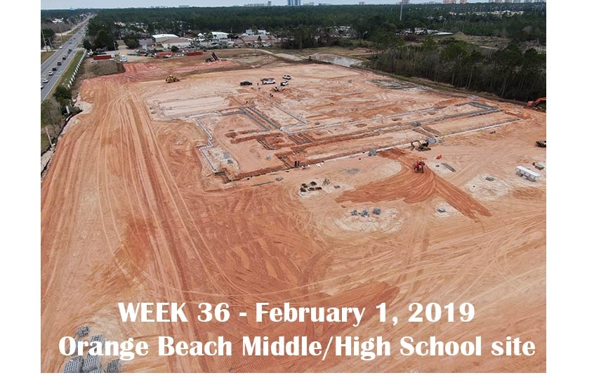 Week 36 aerial photo of Orange Beach school construction site, February 1, 2019.