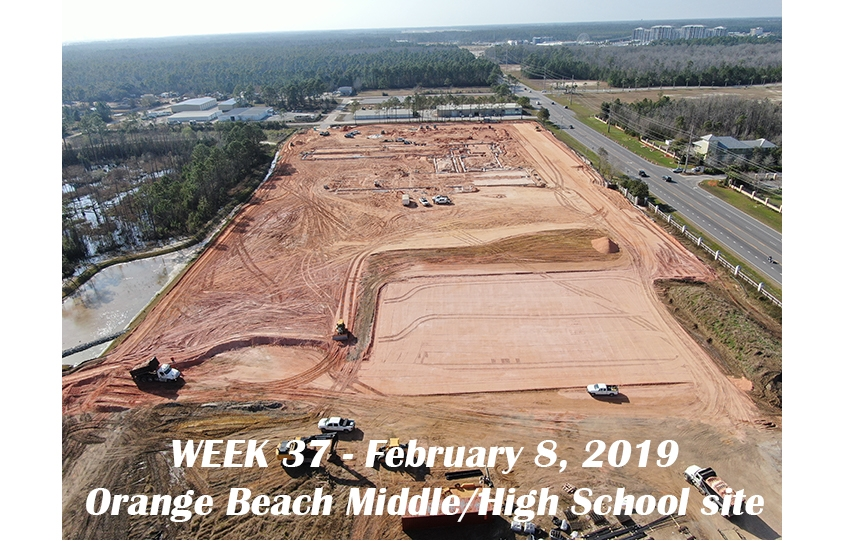 Week 37 aerial photo of Orange Beach school construction site, February 8, 2019.