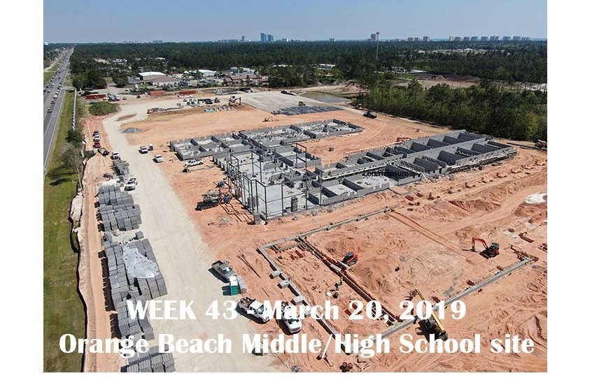 Week 43 aerial photo of Orange Beach school construction site, March 20, 2019
