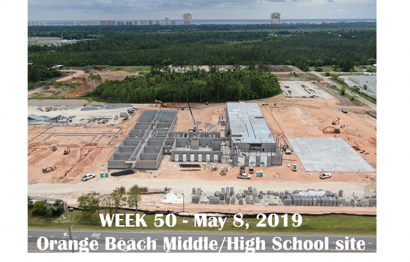 Week 50 aerial photo of Orange Beach school construction site on Canal Road, May 8, 2019