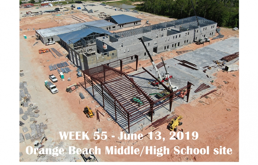 Week 55 aerial photo of Orange Beach school construction site on Canal Road, June 13, 2019