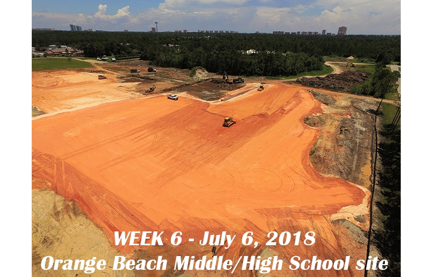 Week 6 aerial photo of Orange Beach school construction site, July 6, 2018