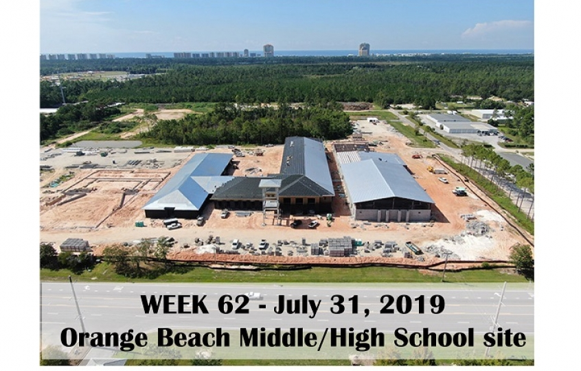 Week 62 aerial photo of Orange Beach school construction site on Canal Road, July 31, 2019