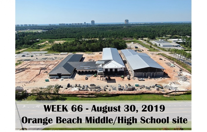 Week 66 aerial photo of Orange Beach school construction site on Canal Road, August 30, 2019