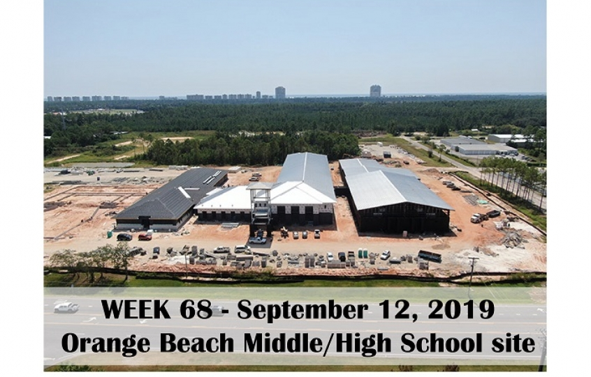 Week 68 aerial photo of Orange Beach school construction site on Canal Road, September 12, 2019
