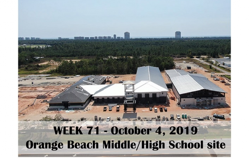 Week 71 aerial photo of Orange Beach school construction site on Canal Road, October 4, 2019