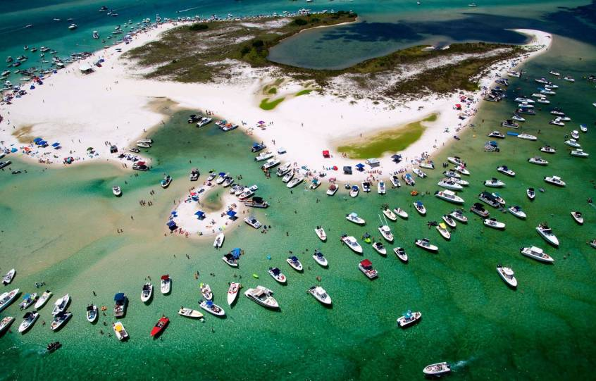 Aerial of Bird Island in the Terry Cove area of Orange Beach, Alabama