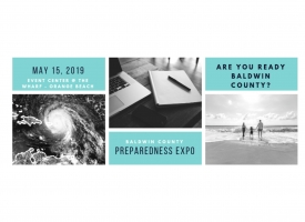Flyer advertising the Baldwin County Disaster Preparedness Expo planned for May 15, 2019 at Orange Beach Event Center