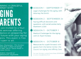 Flier for Graceful Journey with Aging Parents seminar that starts on Sept. 17, 2019 at Orange Beach United Methodist Church