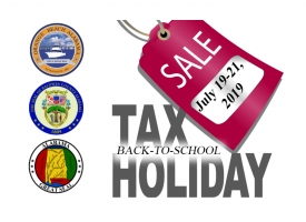 Graphic promoting Alabama's 14th annual back-to-school Sales Tax Holiday from Friday, July 19 through Sunday, July 21, 2019