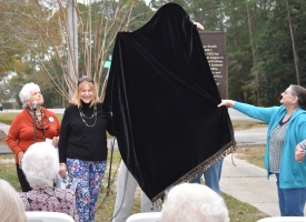 Bay Circle historical marker unveiled on Feb. 5, 2019. From left are Margaret Childress-Long, Sally DeJarnette and Merle Harms.