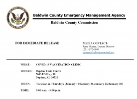 Alabama Department of Public Health scheduled to conduct COVID-19 Vaccination Clinics in Baldwin County
