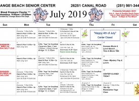 Adult/Senior Activity Center July 2019 calendar of Excursions and Events
