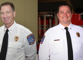 Interim Orange Beach Fire Chief Mike Kimmerling, left, and Interim Deputy Fire Chief Jeff Smith on right