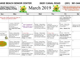 March 2019 Senior Center calendar