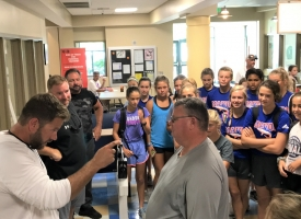 OBHS Athletic Director Chase Smith weighs in Coach David McLain on Tuesday, July 9, 2019 at the Orange Beach Rec Center
