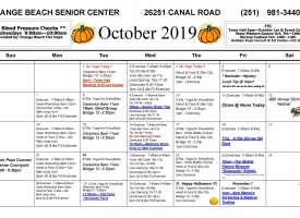 Senior Activity Center October 2019 Excursions and Events