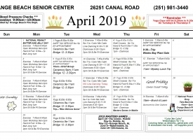 Orange Beach Senior Center April 2019 calendar