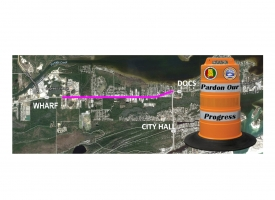 A Pardon Our Progress map highlighting section of Canal Road where an additional eastbound lane will be constructed